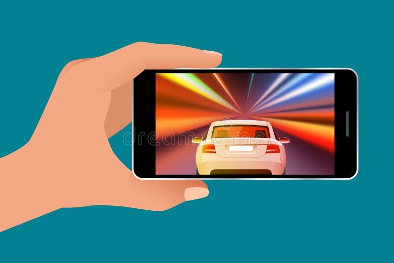 Van de het videospelletjescherm en gamer persoon gokken online op androïde telefoon of tablet Drijfauto in videospelletje Isometr royalty-vrije illustratie