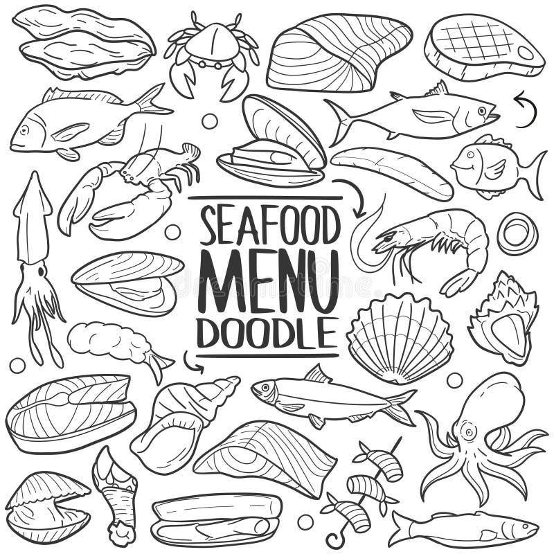 Van de het Voedsel trekt de Traditionele krabbel van het zeevruchtenmenu het pictogramhand reeks royalty-vrije illustratie