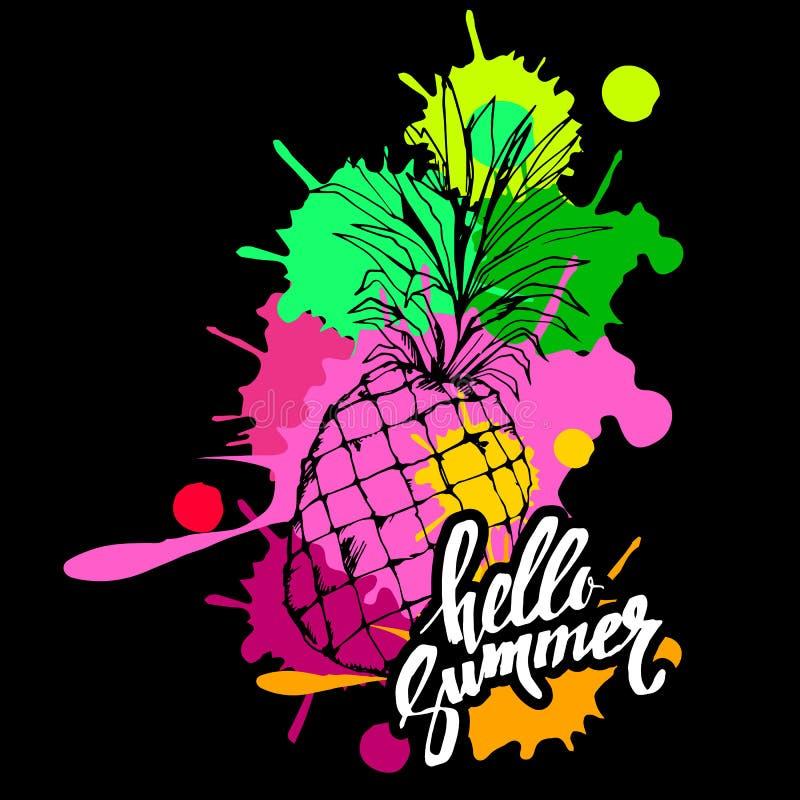Van de het voedsel tropisch zomer van het ananas vectorfruit van de het ontwerpillustratie snoepje als achtergrond vector illustratie