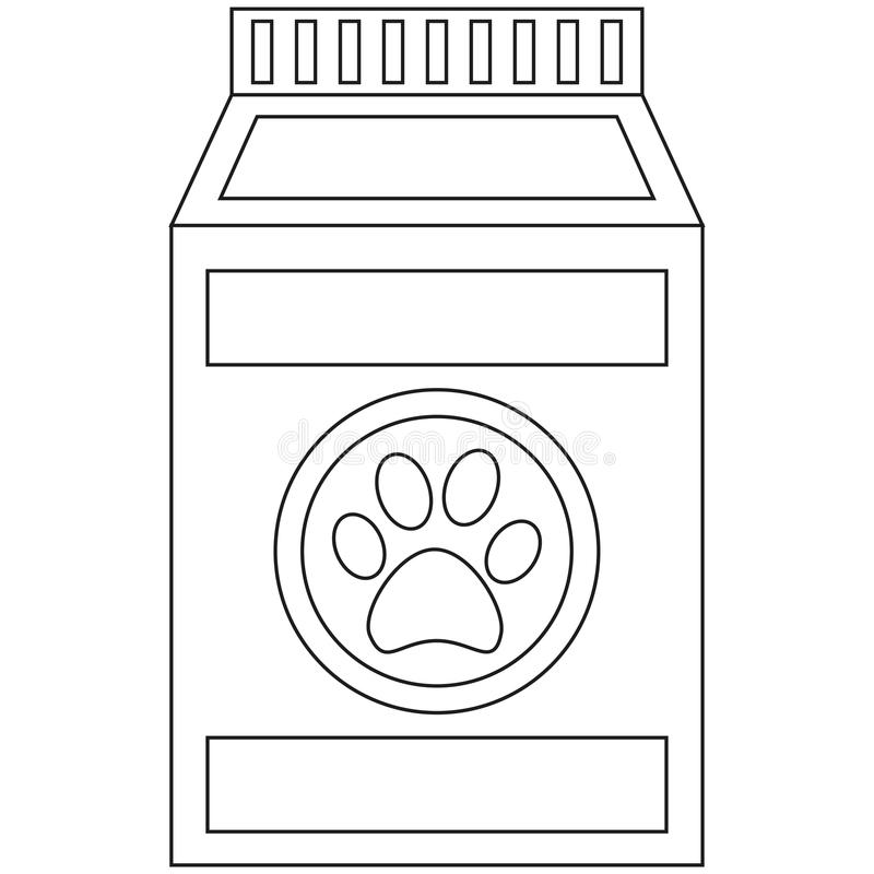 Van de het voedsel voor huisdierenzak van de lijnkunst zwart-witte natte het pictogramaffiche stock illustratie