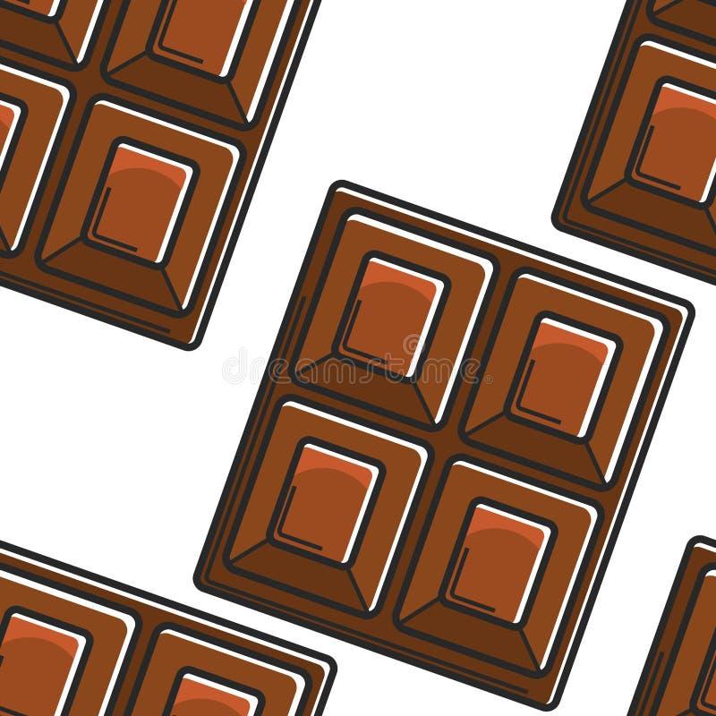 Van de het voedselchocoladereep van Zwitserland het traditionele naadloze patroon stock illustratie