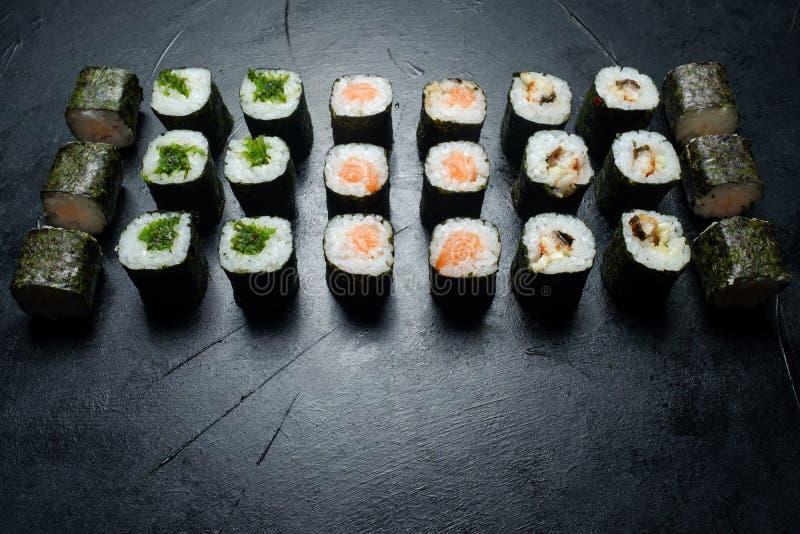 Van de het voedselfotografie van het sushi vastgestelde assortiment de kunststijl royalty-vrije stock afbeelding