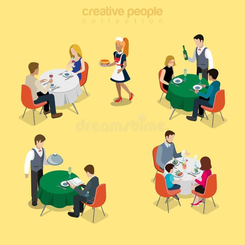 Van de het voedselmaaltijd van de restaurantkelner het vlakke isometry vector romantische diner vector illustratie