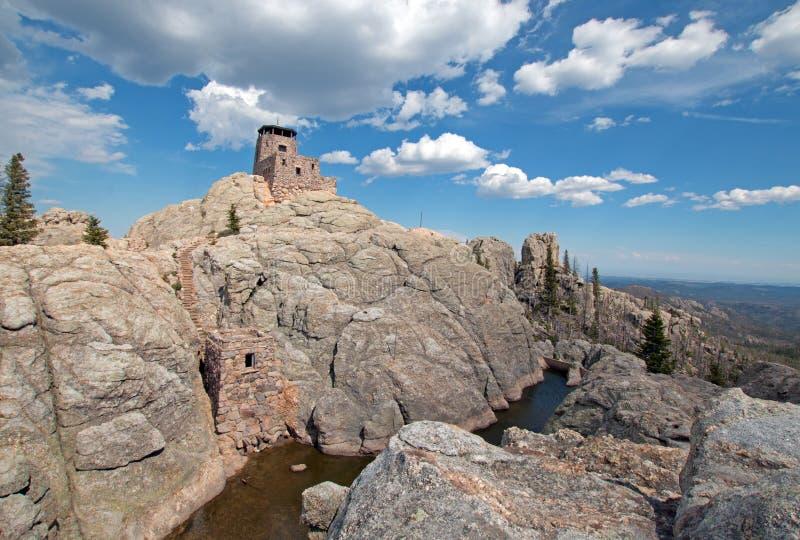 Van de het Vooruitzichttoren en pomp van de Harney Piekbrand huis en kleine dam in Custer State Park in de Zwarte Heuvels van BR stock afbeelding
