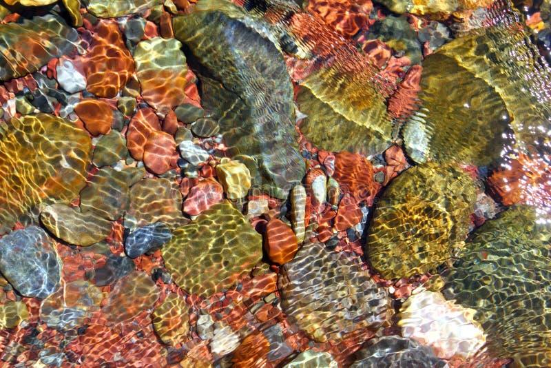 Van de het waterbodem van de rivier transparantie van de stroom de rode rotsen royalty-vrije stock foto's