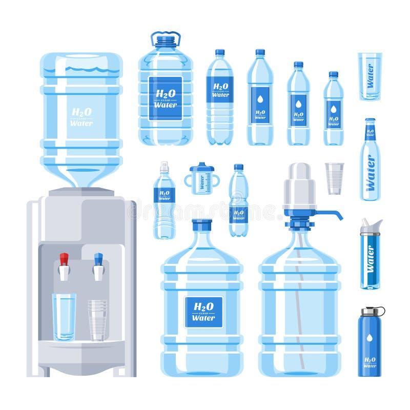 Van de het waterdrank van de waterfles vector vloeibare die aqua in de reeks van de plastic containerillustratie van het bottelen royalty-vrije illustratie