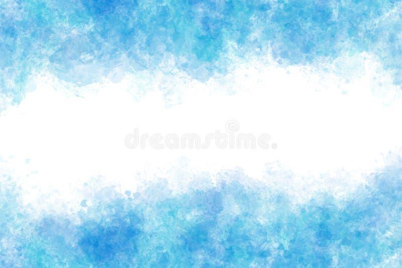 Van de het watergolf van de de zomer de blauwe kleur de plonssamenvatting of achtergrond van de waterverfverf stock illustratie