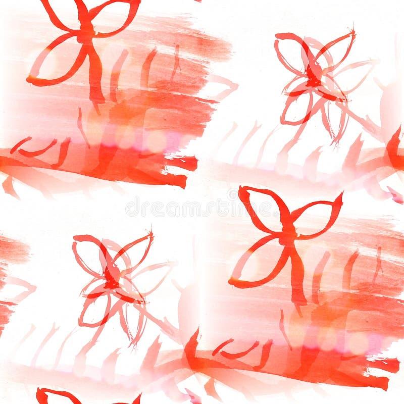 Van de het watertextuur van het Bokeh kleurrijk patroon de verf abstract naadloos rood vector illustratie