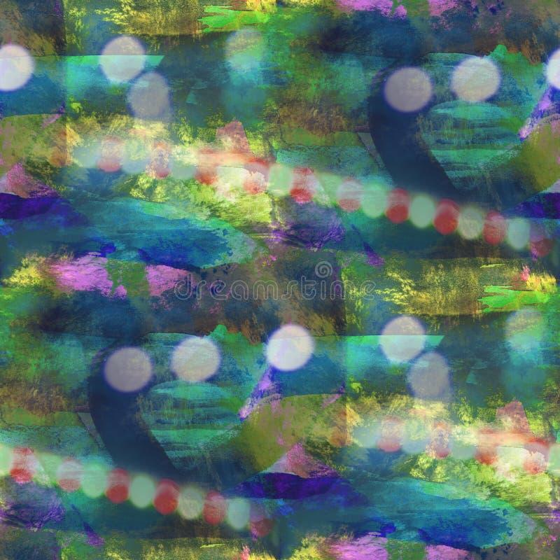 Van de het watertextuur van het Bokeh kleurrijke patroon de verf abstracte naadloze gre vector illustratie
