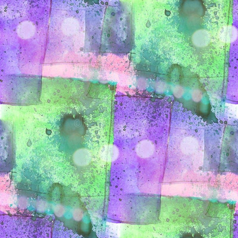 Van de het watertextuur van het Bokeh kleurrijke patroon de verf abstracte naadloze pur vector illustratie