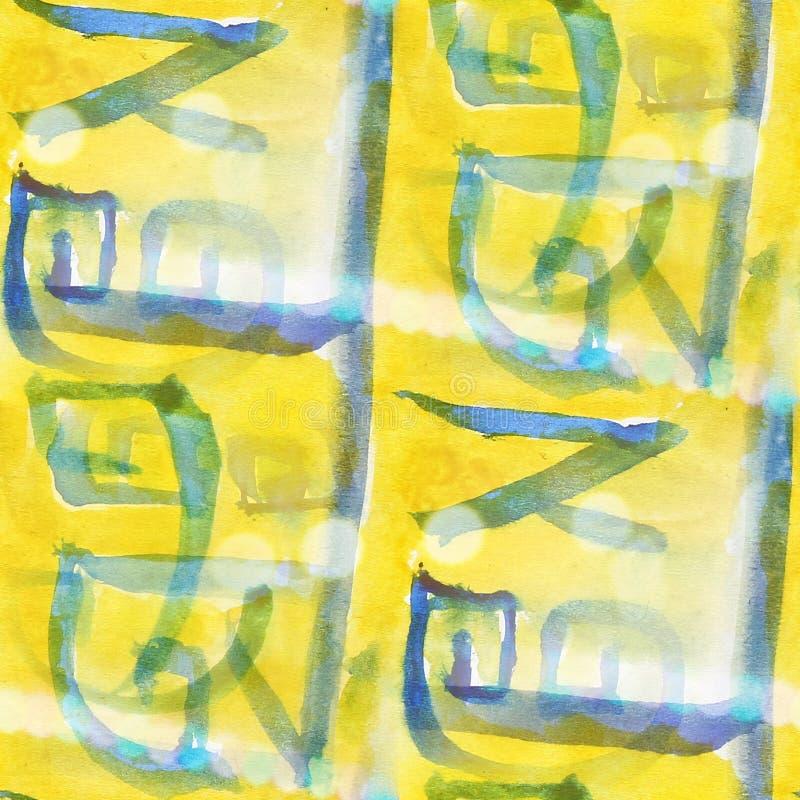 Van de het watertextuur van het Bokeh kleurrijke patroon de verf abstracte naadloze yel royalty-vrije illustratie