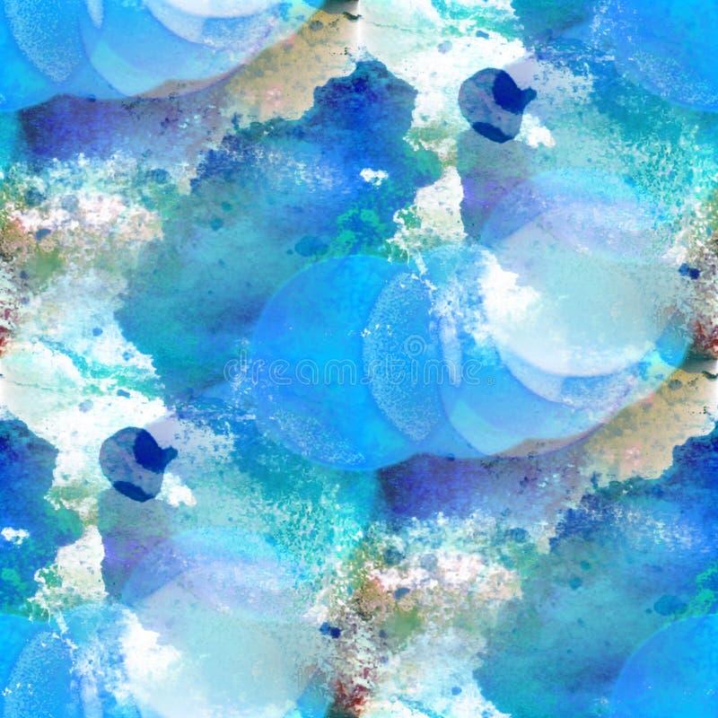 Van de het watertextuur van het Bokeh kleurrijke patroon de verf blauwe samenvatting seamles royalty-vrije illustratie