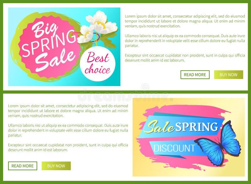 Van de het Webaffiche van de de lenteverkoop de Kortings Kleurrijke Vlinder stock illustratie