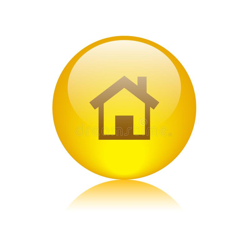 Van de het Webknoop van het huispictogram gouden geel vector illustratie