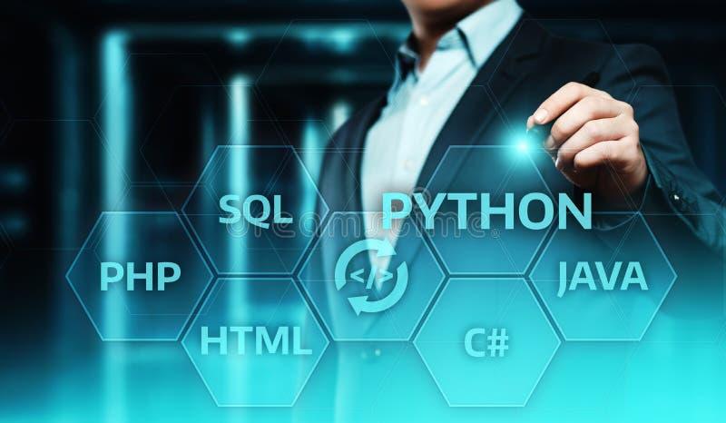 Van de het Webontwikkeling van de python Programmeertaal de Codageconcept royalty-vrije stock foto's