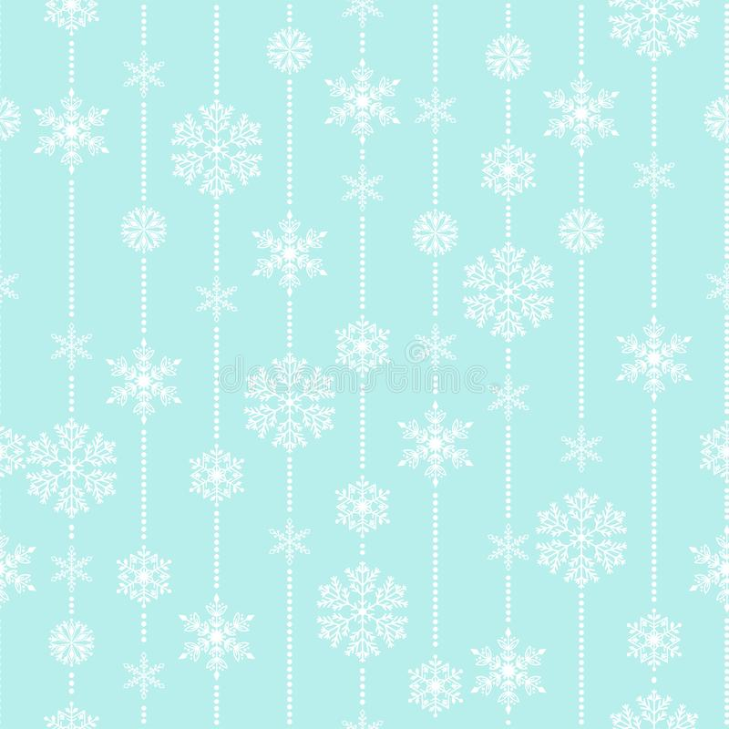 Van de het weer traditionele winter van het sneeuwvlok vector naadloze patroon het verpakkende document van december Kerstmisacht stock illustratie
