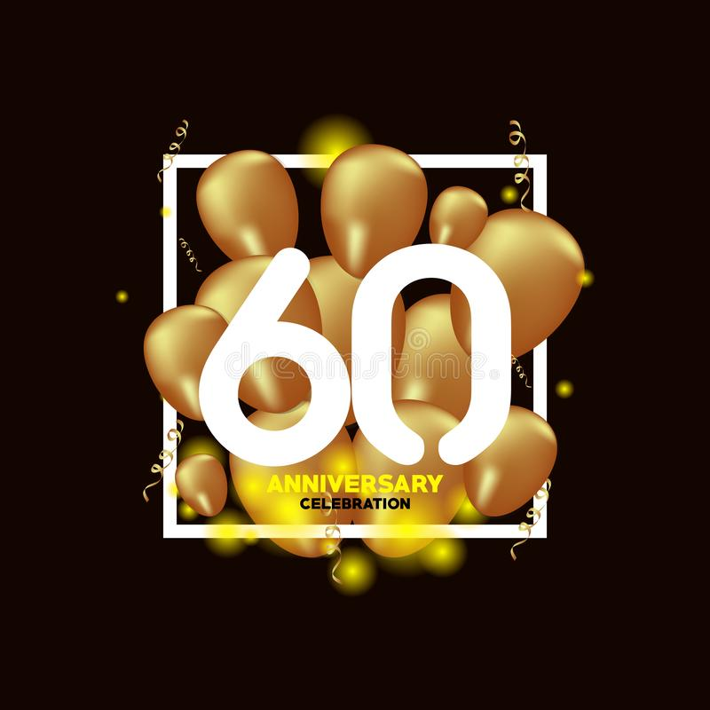 Van de het Witgoudballon van de 60 Jaarverjaardag Illustratie van het het Malplaatjeontwerp de Vector stock illustratie