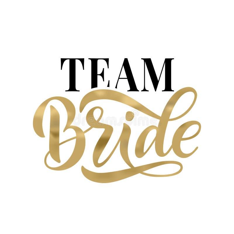 Van de het woordkalligrafie van het bruidteam de pretontwerp Het van letters voorzien van tekst vectorillustratie voor vrijgezell royalty-vrije illustratie