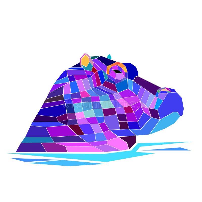 Van de het zoogdierillustratie van het Hippo vectornijlpaard dierlijke het beeldverhaalbesnoeiing stock illustratie