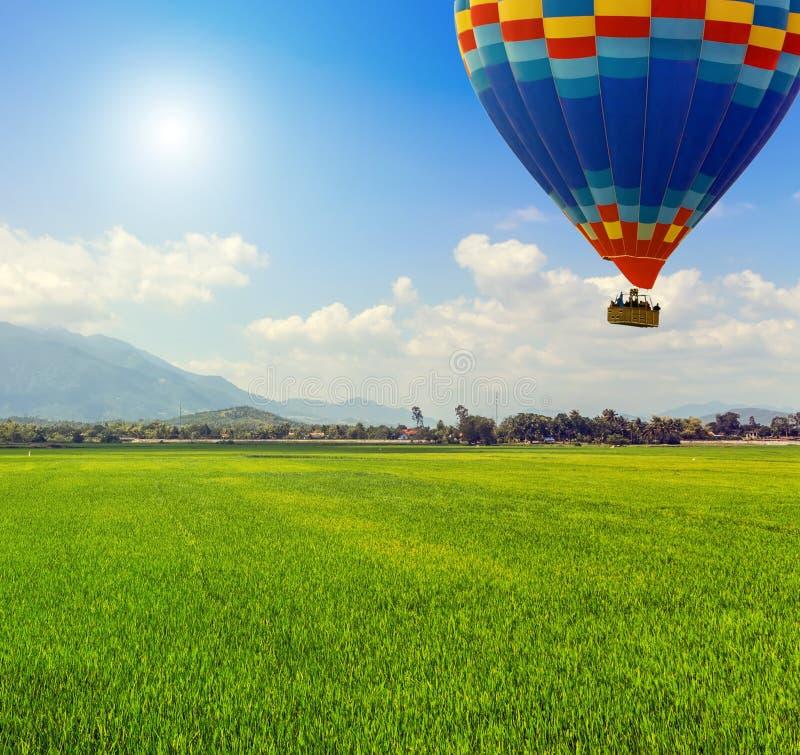Van de Hete luchtballons van de de lentezon het groene gebied royalty-vrije stock afbeeldingen