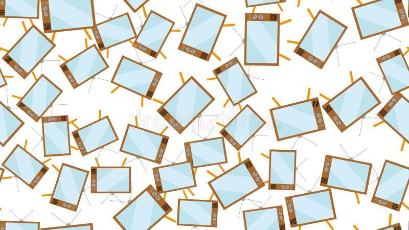 Van de hipster uitstekende buis van het textuurpatroon naadloze convexe het scherm oude TV die TV van de de jaren '70jaren '80 va stock illustratie
