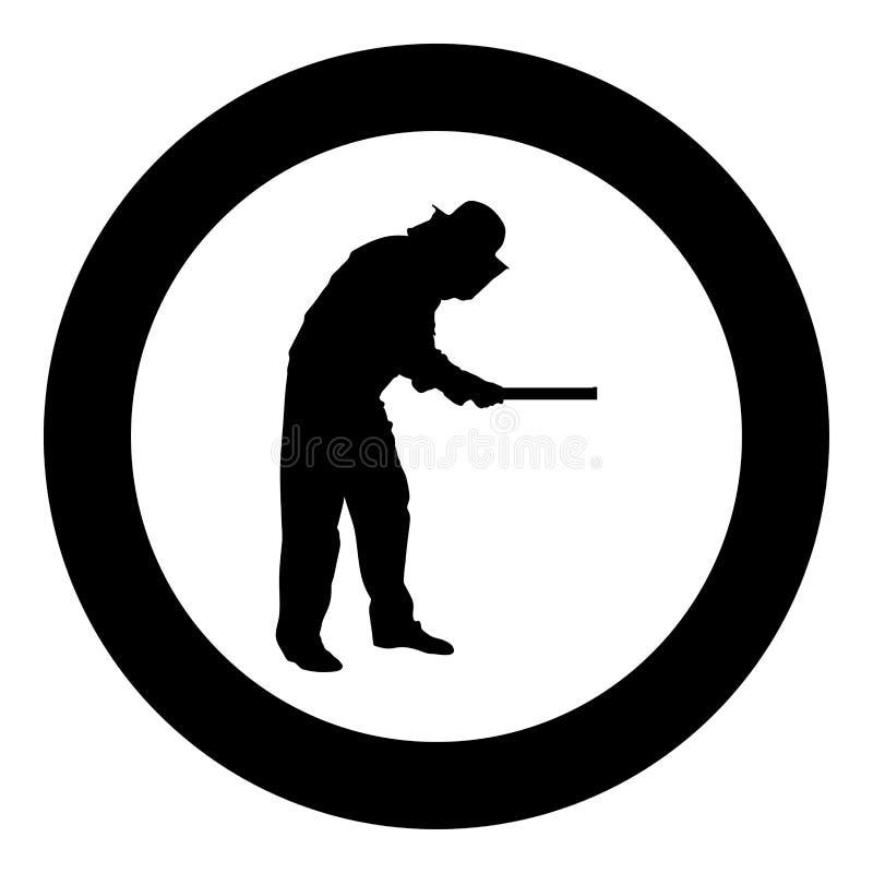 Van de de honingraatplank van de imkerholding het pictogram van Apiarist in cirkel om zwart vlak de stijlbeeld van de kleuren vec stock illustratie
