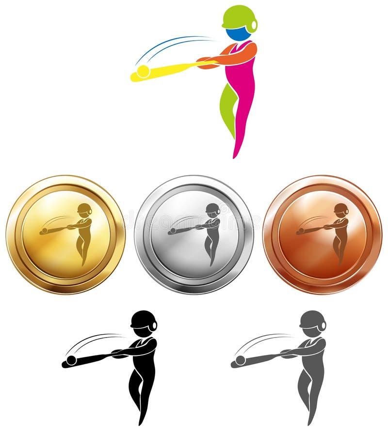 Van de honkbalpictogram en sport medailles stock illustratie