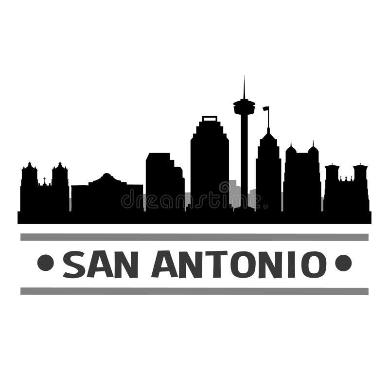Van de de Horizon het Vlakke Stad van San Antonio Texas Icon Vector Art Design Malplaatje van het Silhoueteditable stock illustratie
