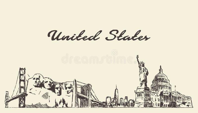 Van de horizon uitstekende engrav van de V.S. getrokken de illustratiehand royalty-vrije illustratie
