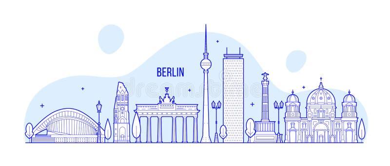 Van de horizonduitsland van Berlijn de vector van de stadsgebouwen stock illustratie