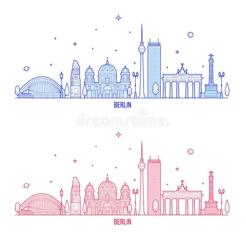 Van de horizonduitsland van Berlijn de vector van de stadsgebouwen vector illustratie