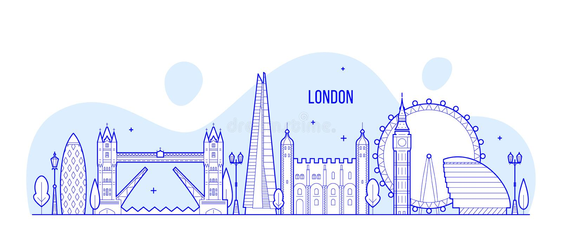 Van de horizonengeland het UK van Londen vector de stadsgebouwen vector illustratie