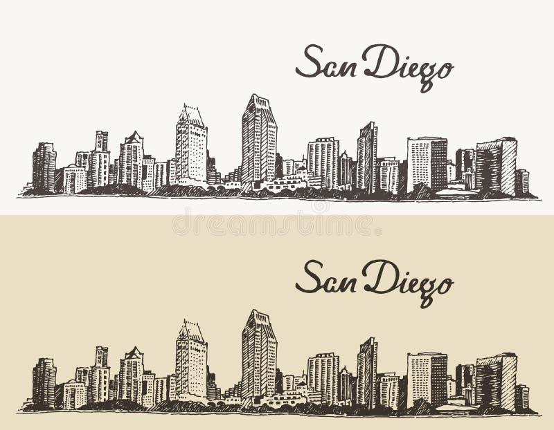 Van de horizonevector van San Diego de getrokken schets hand stock illustratie