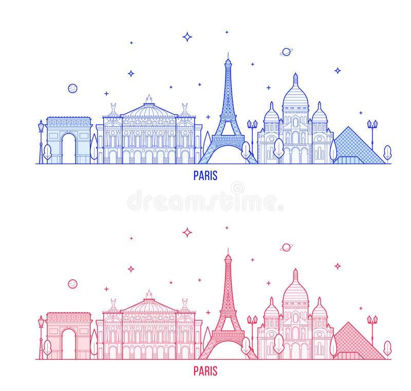 Van de horizonfrankrijk van Parijs vector van de stads de opmerkelijke gebouwen vector illustratie