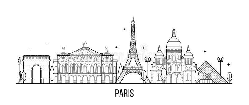 Van de horizonfrankrijk van Parijs de vector van de stadsgebouwen royalty-vrije illustratie