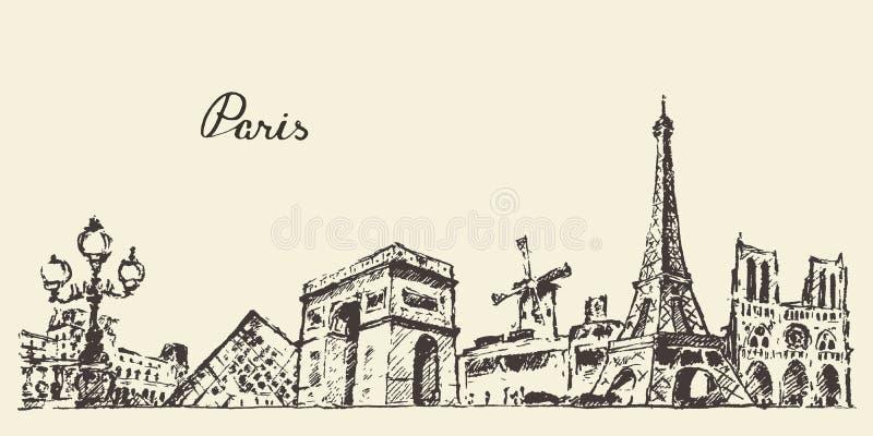 Van de horizonfrankrijk van Parijs getrokken de illustratiehand stock illustratie