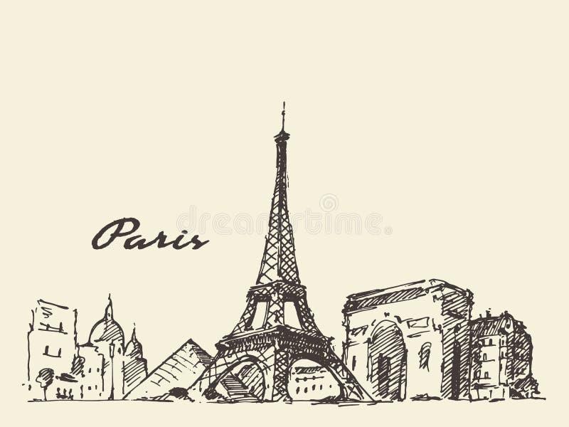 Van de horizonfrankrijk van Parijs getrokken de illustratiehand royalty-vrije illustratie