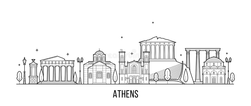 Van de horizongreecevector van Athene de de stadsbouw royalty-vrije illustratie