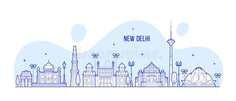 Van de horizonindia van New Delhi van de stadsgebouwen de vectorlijn royalty-vrije illustratie
