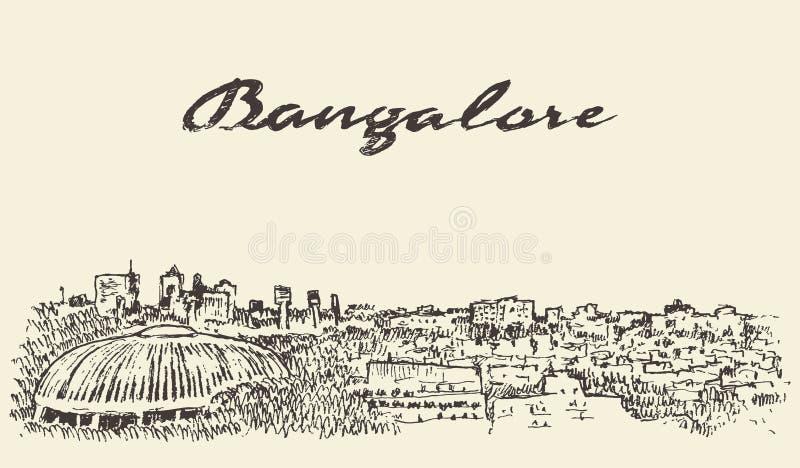 Van de horizonindia van Bangalore de getrokken schets illustratie stock illustratie