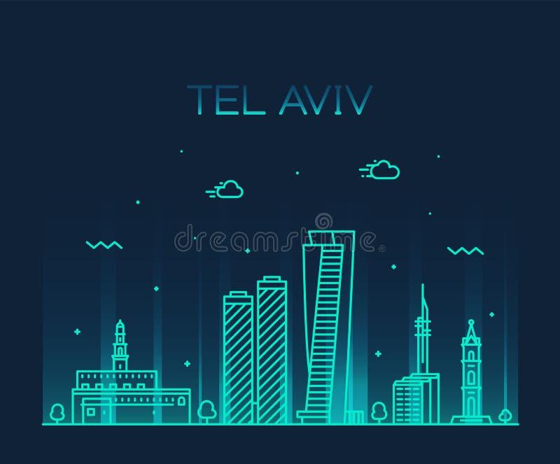 Van de horizonisraël van Tel Aviv de vector lineaire stijl royalty-vrije illustratie