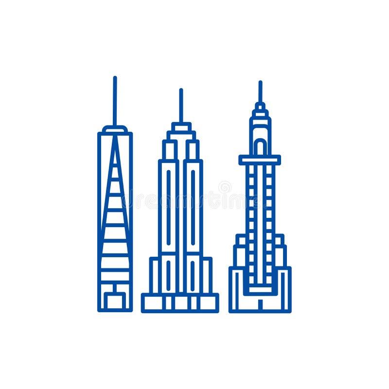 Van de de horizonlijn van New York het pictogramconcept De horizon vlak vectorsymbool van New York, teken, overzichtsillustratie stock illustratie