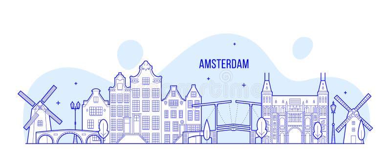 Van de horizonnederland van Amsterdam de vector de stadsbouw royalty-vrije illustratie