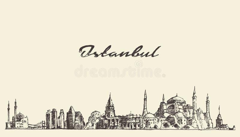 Van de horizonturkije van Istanboel de getrokken schets illustratie royalty-vrije illustratie