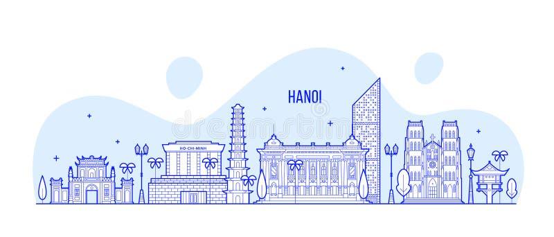 Van de horizonvietnam van Hanoi lineaire de vector van de stadsgebouwen vector illustratie