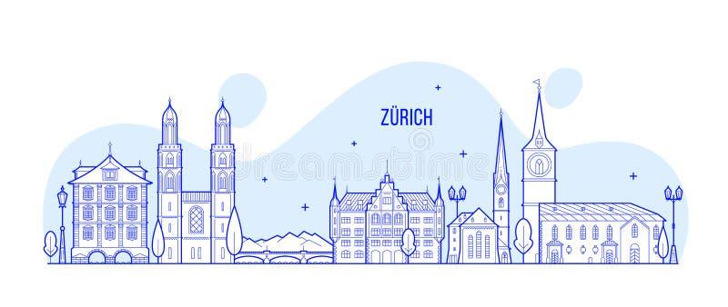 Van de horizonzwitserland van Zürich de vector van de stadsgebouwen vector illustratie