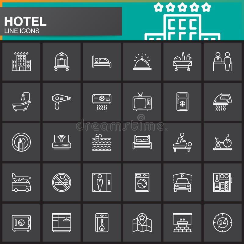 Van de hoteldiensten en faciliteiten geplaatste lijn de pictogrammen, schetsen vectorsymboolinzameling, lineair wit pictogrampak vector illustratie