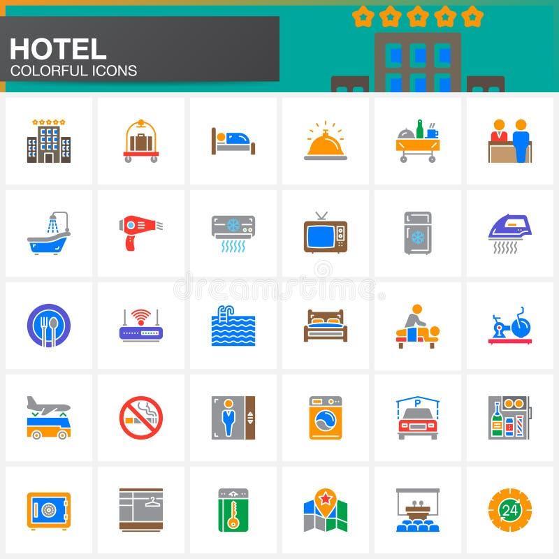 Van de hoteldiensten en faciliteiten vector geplaatste pictogrammen, moderne stevige symboolinzameling royalty-vrije illustratie