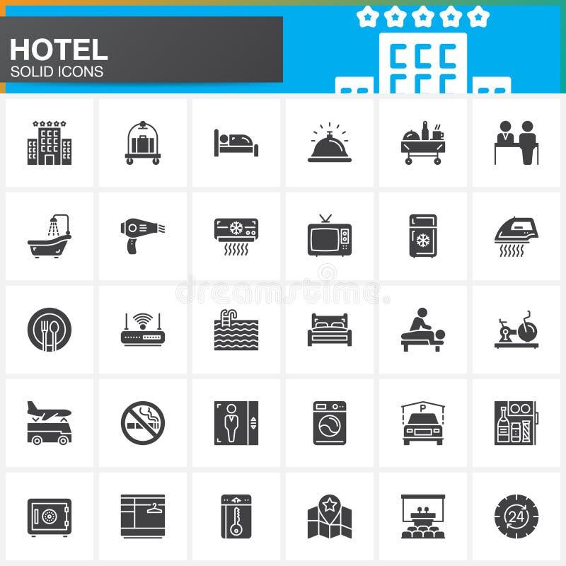 Van de hoteldiensten en faciliteiten vulden de vector geplaatste pictogrammen, de moderne stevige symboolinzameling, het pak van  stock illustratie