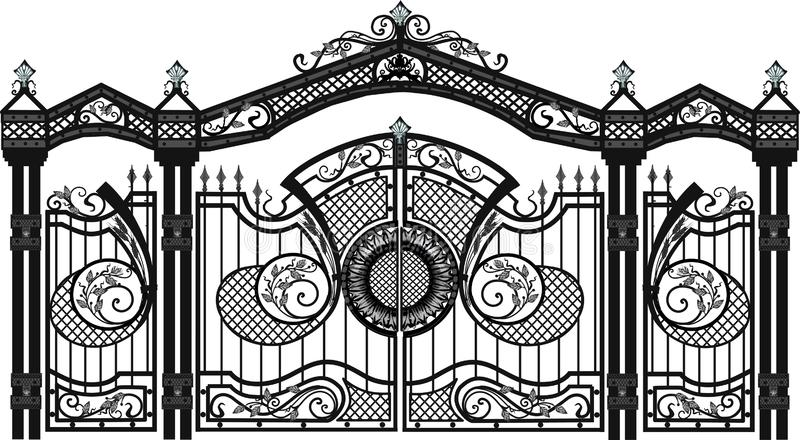 Van de huispoort en omheining vector behang gesmede producten royalty-vrije illustratie